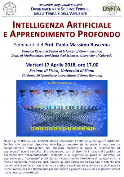 Locandina seminario Intelligenza Artificiale (Massimo Buscema)