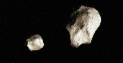 Rappresentazione artistica di un asteroide binario (UC Berkeley - Seti Institute)