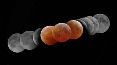 Sequenza dell'eclisse totale di Luna del 2007 (immagini d'archivio)