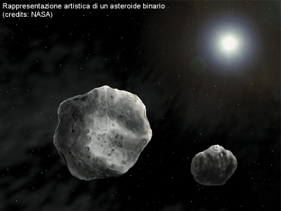 Rappresentazione artistica di un asteroide binario (fonte NASA)
