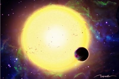 Rappresentazione artistica del pianeta extrasolare KPS-1b e della sua stella